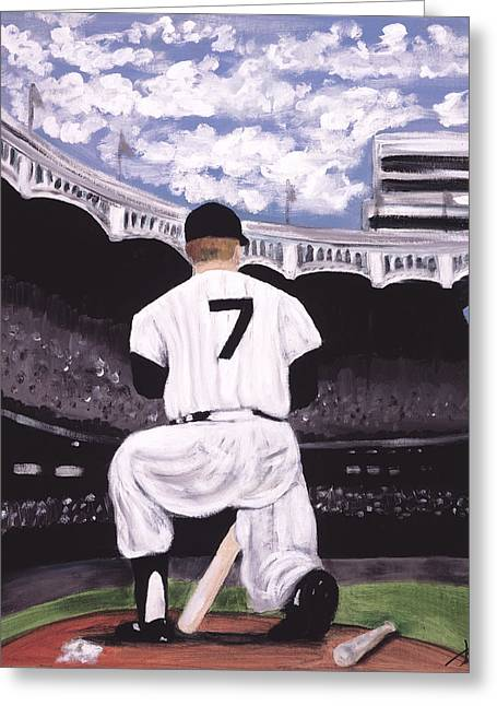 Baseball Paintings Greeting Cards - Number 7  Greeting Card by Jorge Delara
