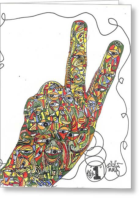 Rwjr Drawings Greeting Cards - Number One Greeting Card by Robert Wolverton Jr