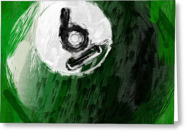 Billiards Digital Greeting Cards - Number Six Billiards Ball Abstract Greeting Card by David G Paul
