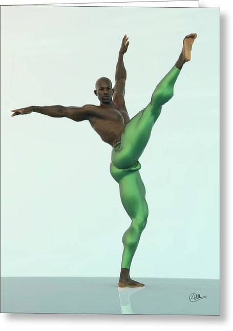 Ballet Dancers Mixed Media Greeting Cards - Green dancer Greeting Card by Quim Abella