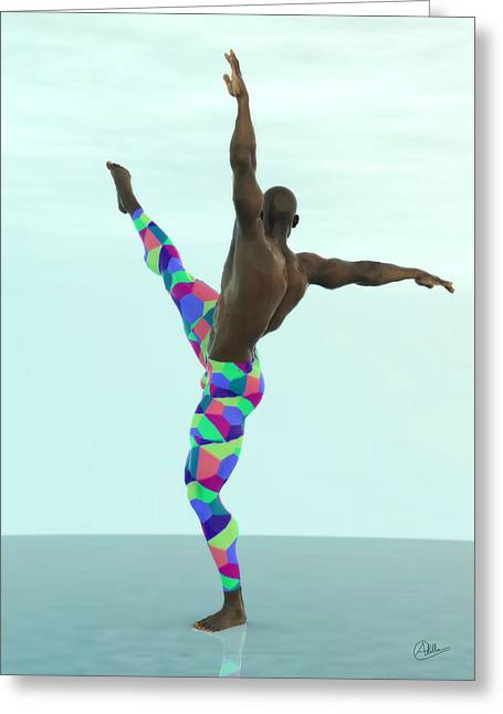 Ballet Dancers Mixed Media Greeting Cards - Dancer colorful Greeting Card by Quim Abella