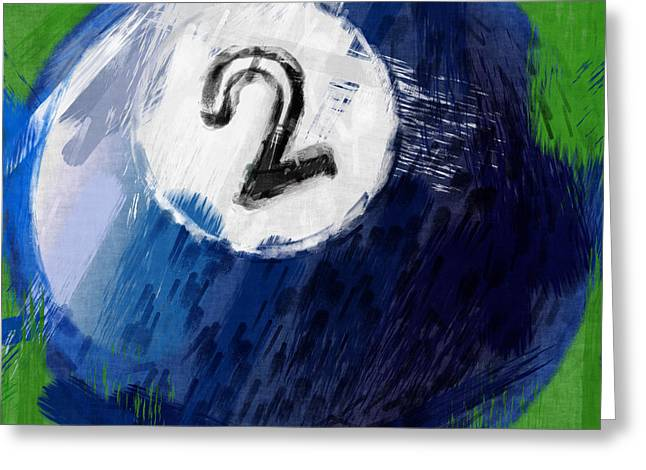 Number Two Billiards Ball Abstract Greeting Card by David G Paul