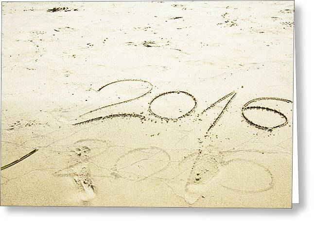 Sixteen Year Old Greeting Cards - Numbers 2016 and 2015 written in sand  Greeting Card by Newnow Photography By Vera Cepic