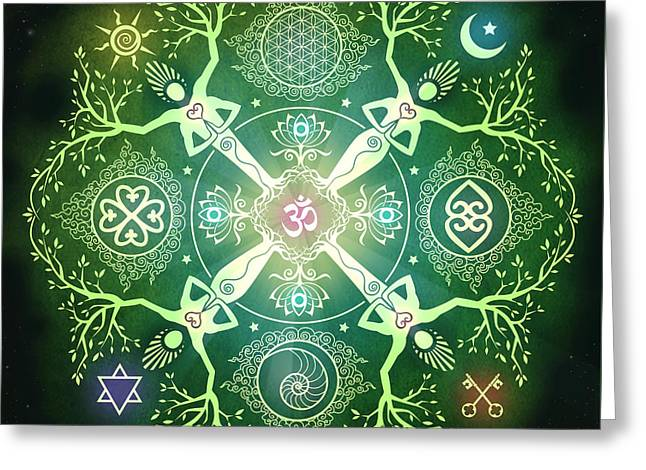 Flower Of Life Greeting Cards - Numinosity Mandala Greeting Card by Cristina McAllister