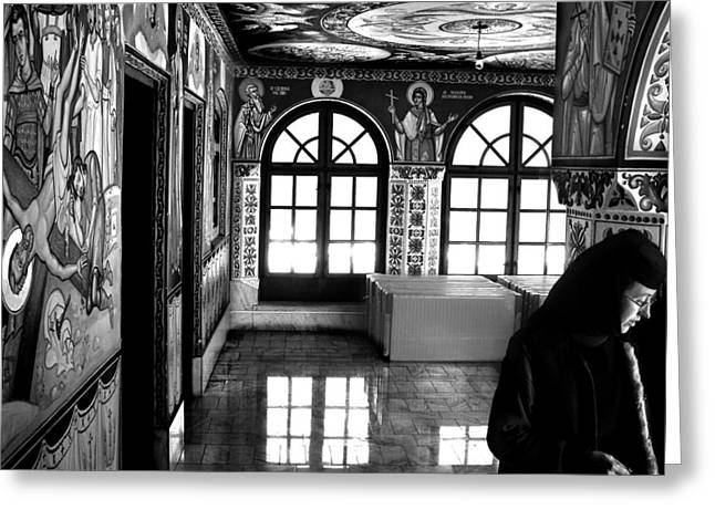 Romania Photographs Greeting Cards - Nun by the Window Greeting Card by Todd Fox