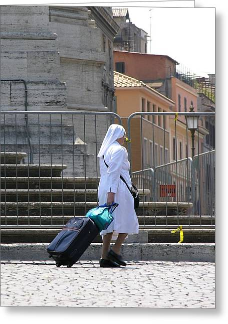Nun Dragging Her Suitcase Greeting Card by Shirley Stevenson Wallis