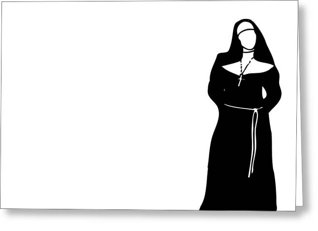 Black Boots Drawings Greeting Cards - Nun Greeting Card by Karl Addison