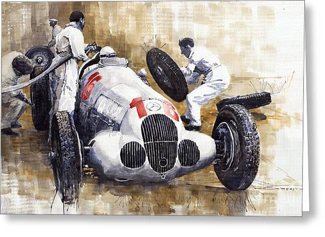 Watercolour Paintings Greeting Cards - Nurburgring Pit Stop 1937 Hermann Lang MB W125 Greeting Card by Yuriy  Shevchuk