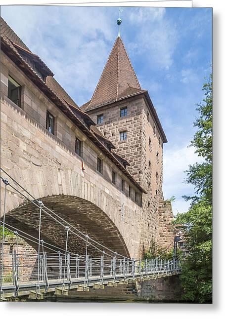 Nuremberg Chained Suspension Bridge Greeting Card by Melanie Viola