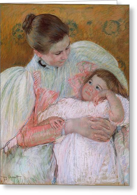 Cassatt Drawings Greeting Cards - Nurse and Child Greeting Card by Mary Stevenson Cassatt