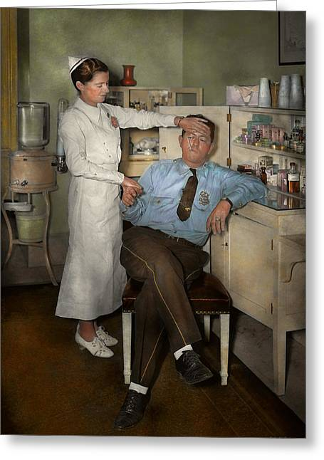 Nurse - Sick Day - 1937 Greeting Card by Mike Savad