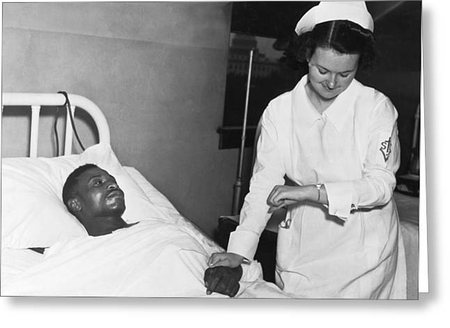 Wrist Watch Greeting Cards - Nurse Taking Mans Pulse Greeting Card by Underwood Archives