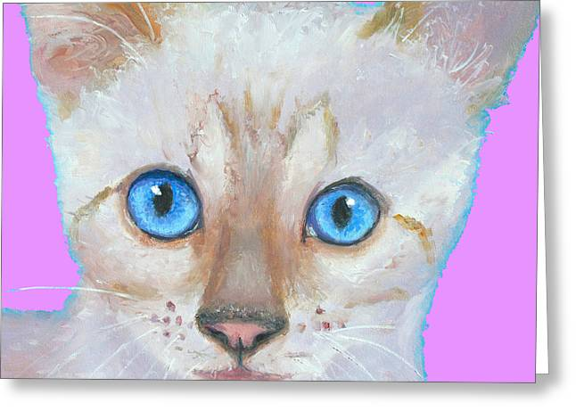 Kitten Prints Greeting Cards - Nursery Decor - Snow Bengal Cat painting Greeting Card by Jan Matson