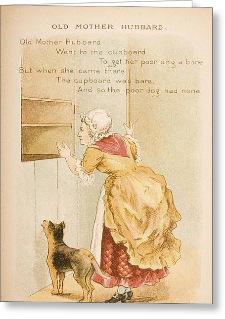Mother Goose Greeting Cards - Nursery Rhyme And Illustration Of Old Greeting Card by Ken Welsh