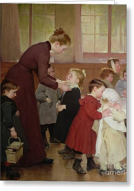 Caring Mother Paintings Greeting Cards - Nursery school Greeting Card by Hneri Jules Jean Geoffroy