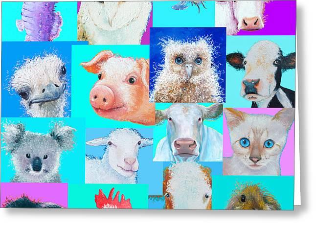 Koala Art Greeting Cards - Nursery Wall Art - Collage of animals Greeting Card by Jan Matson