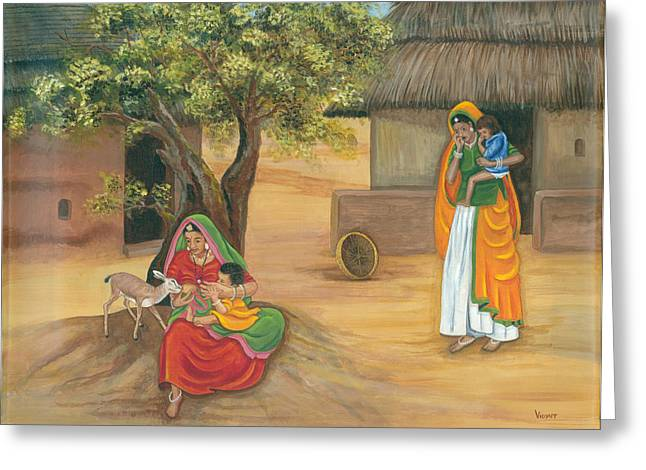 Mother And Child Prints Greeting Cards - Nurturing Nature Greeting Card by Vidyut Singhal