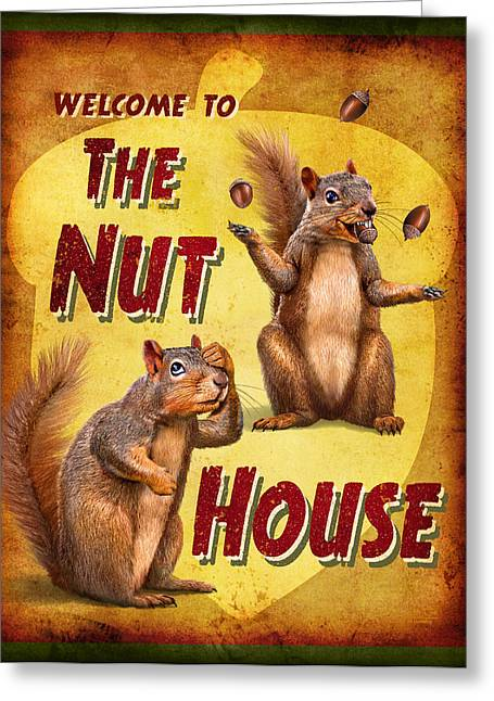 Funny Signs Greeting Cards - Nuthouse Greeting Card by JQ Licensing