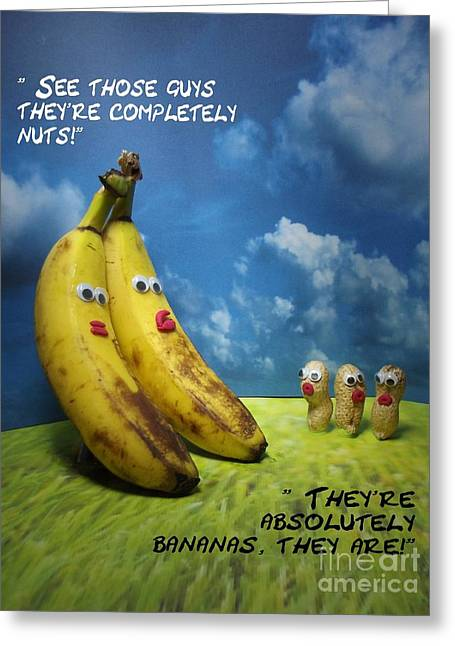 Banana Pastels Greeting Cards - Nuts and bananas Greeting Card by Caroline Peacock