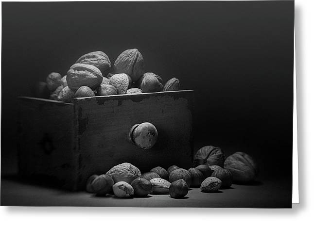 Nuts In Black And White Greeting Card by Tom Mc Nemar