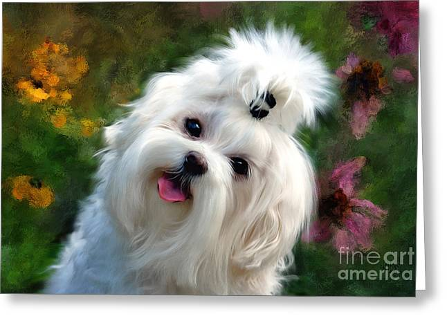 Nuttin But Love Painterly Greeting Card by Lois Bryan