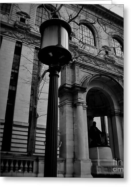 Bryant Greeting Cards - NY City Public Library Greeting Card by Chet B Simpson