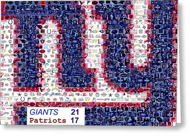 NY Giants Super Bowl Mosaic Greeting Card by Paul Van Scott