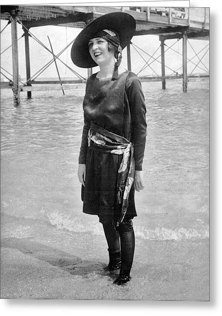 "Beach Wear Greeting Cards - NY ""Senorita"" In Palm Beach Greeting Card by Underwood Archives"