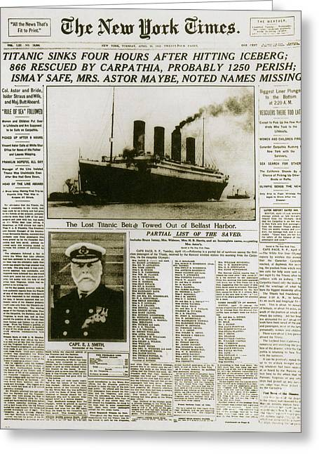 Headline Greeting Cards - Ny Times, Sinking Of The Titanic, 1912 Greeting Card by Photo Researchers