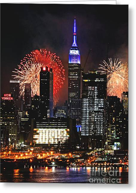4th July Greeting Cards - NYC 4th of July Fireworks Greeting Card by Regina Geoghan