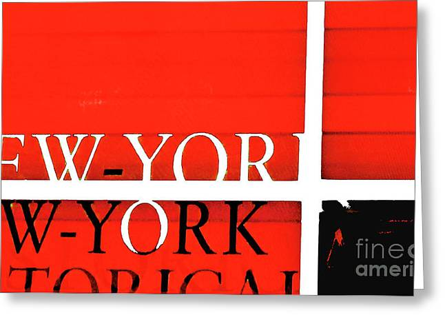 Negro Mixed Media Greeting Cards - NYC Abstract in Red and Black Greeting Card by Anahi DeCanio