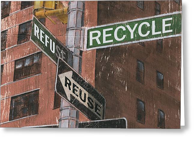 Brick Streets Greeting Cards - NYC Broadway 1 Greeting Card by Debbie DeWitt