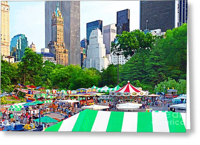 Amusements Greeting Cards - NYC-Central Park Victorian Gardens Greeting Card by Regina Geoghan