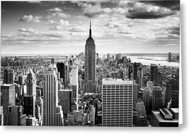 Landmarks Tapestries Textiles Greeting Cards - NYC Downtown Greeting Card by Nina Papiorek