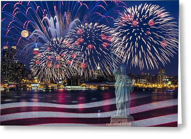 4th July Greeting Cards - NYC Fourth Of July Celebration Greeting Card by Susan Candelario