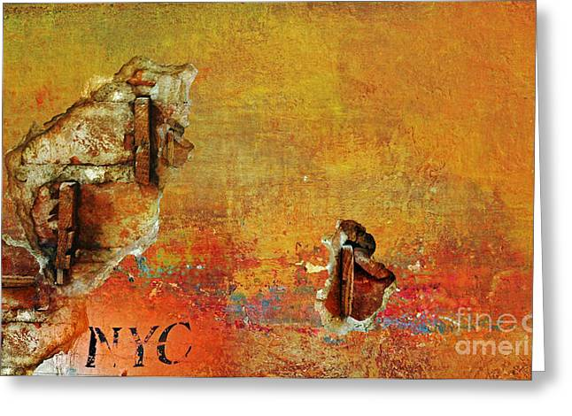 Newyorkcity Greeting Cards - NYC Gold Abstract Greeting Card by Anahi DeCanio