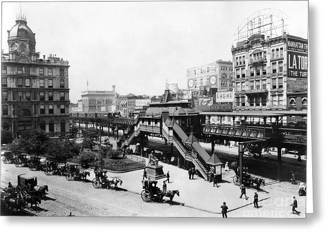 Greeley Greeting Cards - Nyc: Greeley Square, 1898 Greeting Card by Granger