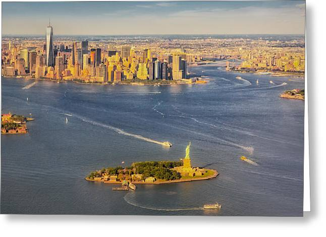 Nyc Iconic Landmarks Aerial View Greeting Card by Susan Candelario