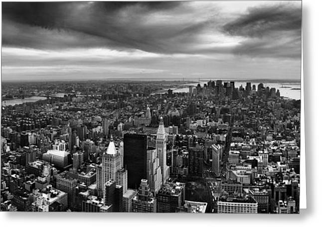 Nyc Cityscape Greeting Cards - NYC Manhattan Panorama Greeting Card by Nina Papiorek