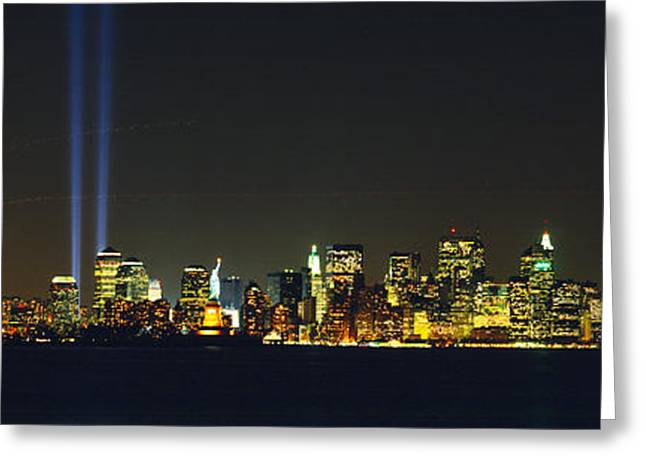 Brightly Lit Greeting Cards - Nyc, New York City, New York State, Usa Greeting Card by Panoramic Images