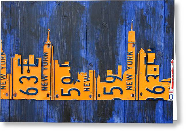 Skylines Mixed Media Greeting Cards - NYC New York City Skyline with Lady Liberty and Freedom Tower Recycled License Plate Art Greeting Card by Design Turnpike