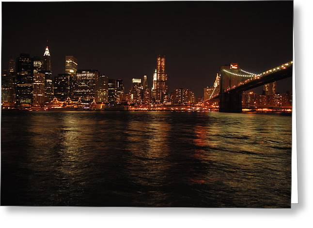 City Skylines Greeting Cards Greeting Cards - NYC Night Greeting Card by Maria Lopez