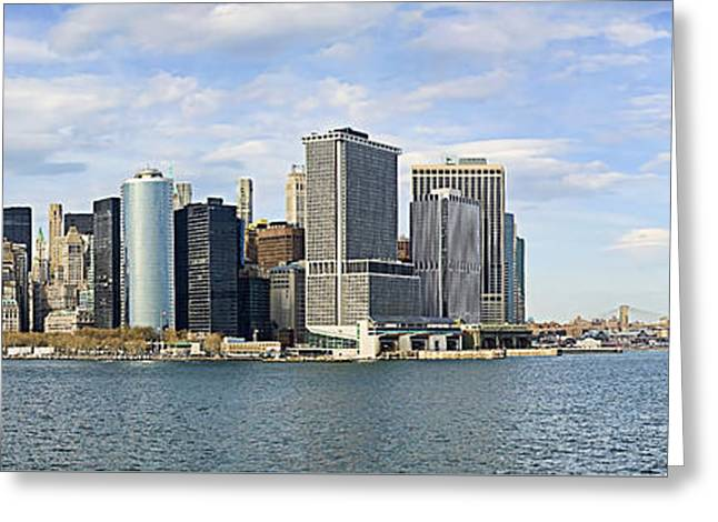 Buildings In The Harbor Greeting Cards - NYC Panorama  Greeting Card by John Amelia