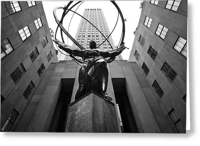 Black Top Greeting Cards - NYC Rockefellar Center Greeting Card by Nina Papiorek