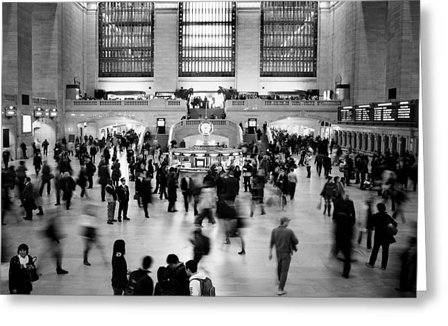 Bw Greeting Cards - NYC Rush Hour Greeting Card by Nina Papiorek