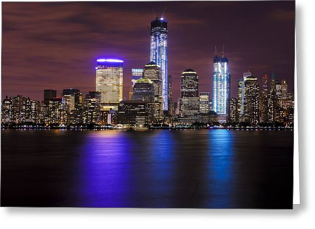 Gotham City Photographs Greeting Cards - NYC Skyline and the Freedom Tower Greeting Card by Vicki Jauron