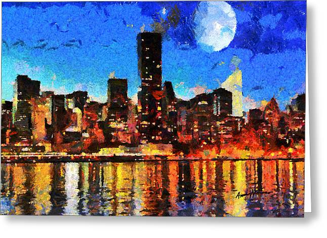 Caruso Greeting Cards - NYC Skyline at Night Greeting Card by Anthony Caruso
