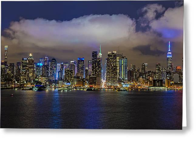 Nyc Skyline At Night Greeting Card by Susan Candelario