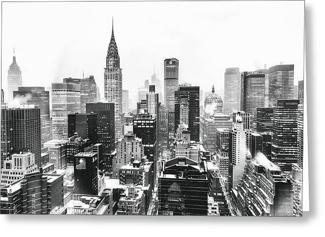 Snowstorm Greeting Cards - NYC Snow Greeting Card by Vivienne Gucwa
