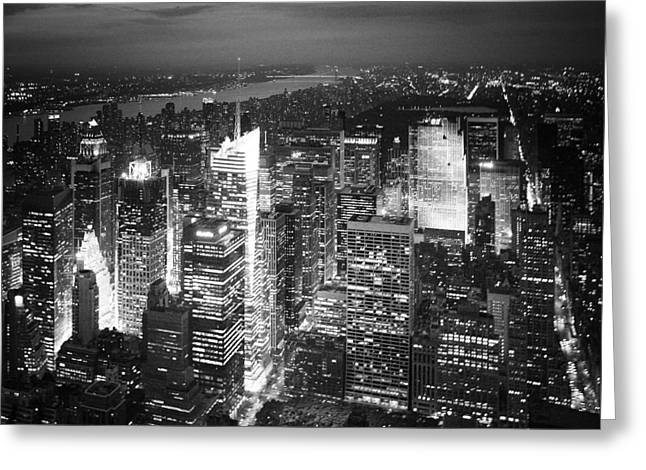 Dark Skies Greeting Cards - NYC Times Square Greeting Card by Nina Papiorek